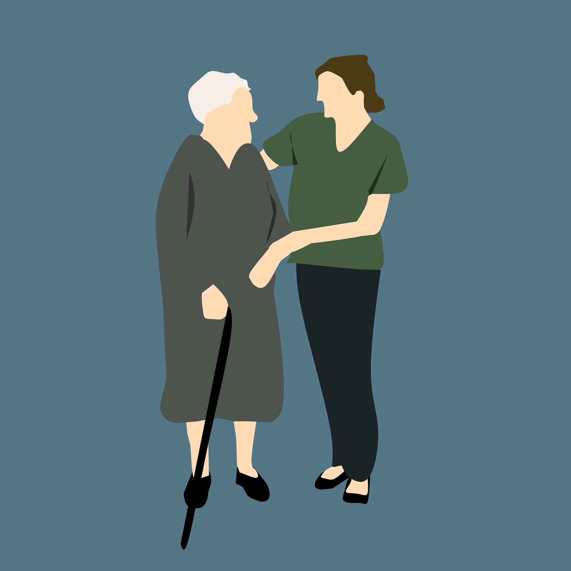direct care workforce helping elderly lady